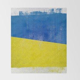 Ukrainian Distressed Halftone Denim Flag Throw Blanket