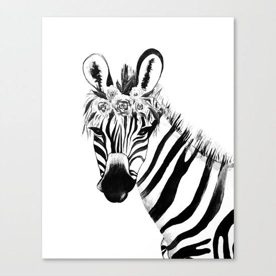 Zebra, black and white Canvas Print