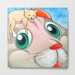 Whimsical Cat Painting My New Hat by Liane Wright Metal Print