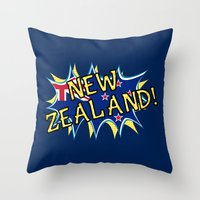 new zealand Throw Pillows featuring  New Zealand  by mailboxdisco