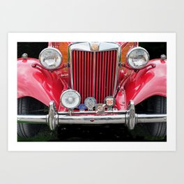 Red MG TD Sports Car Art Print