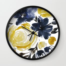 Navy and Yellow Loose Watercolor Floral Bouquet Wall Clock