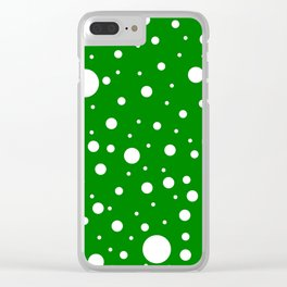 Mixed Polka Dots - White on Green Clear iPhone Case