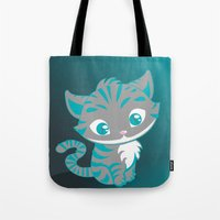 cheshire cat Tote Bags featuring Cheshire Cat by Pixelowska