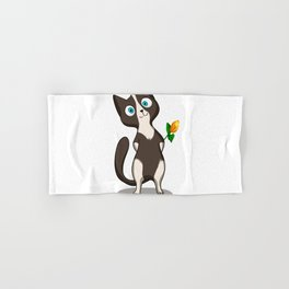 Tuxedo cat with flower Hand & Bath Towel