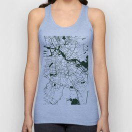 Amsterdam White on Green Street Map Unisex Tank Top
