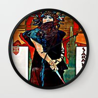 mucha Wall Clocks featuring Alfons Mucha - Medea by Ouijawedge