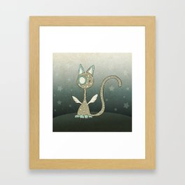 Winged polka-dotted beige cat and stars Framed Art Print