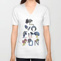 hats V-neck T-shirts featuring Evolution / Hats by Katia Engell Illustration