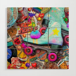 Super Retro Roller Skate Night Wood Wall Art