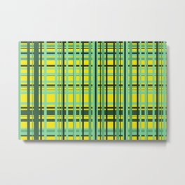 Checkered yellow green Design Metal Print