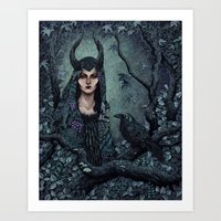 maleficent Art Prints featuring Maleficent by Angela Rizza