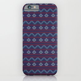 Blue And Red Knitted Christmas Decor iPhone Case