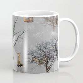 Owls and Foxes in Snowy Trees Coffee Mug