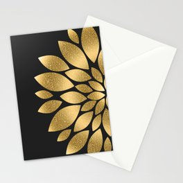 Pretty gold faux glitter abstract flower illustration Stationery Cards