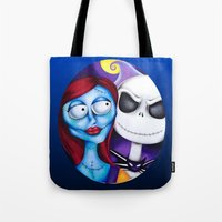 nightmare before christmas Tote Bags featuring Nightmare Before Christmas by Janelle Jex