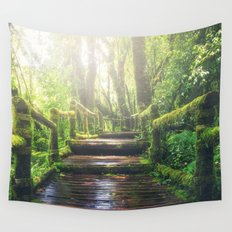 Green Jungle Forest Path Wall Tapestry