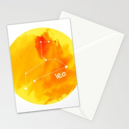 Watercolor Leo Constellation Stationery Cards