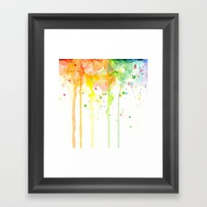 Rainbow Watercolor Pattern Texture Framed Art Print