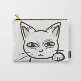 White funny cat Carry-All Pouch