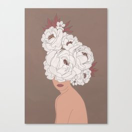 Woman with Peonies Canvas Print