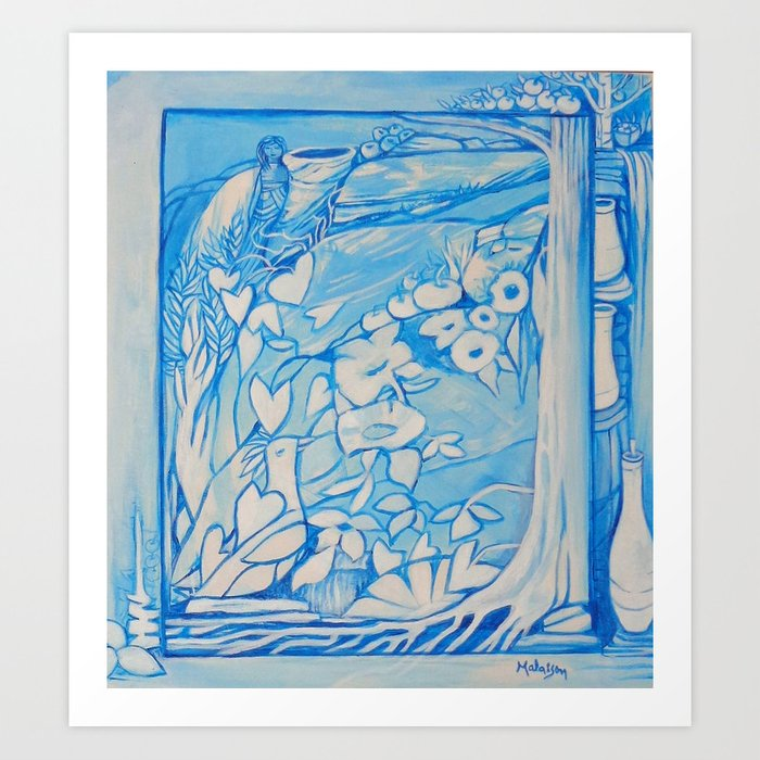 Blue window #1 Art Print