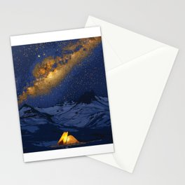 Glowing Tent Under Milky Way Stationery Cards