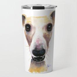 Nosey Dog Whippet Greyhound ' HOLLYWOLLY ' by Shirley MacArthur Travel Mug
