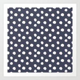 Brushy Dots Pattern - Navy Art Print