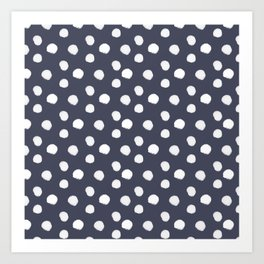 Brushy Dots Pattern - Navy Art Print