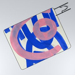 Tribal Pink Blue Fun Colorful Mid Century Modern Abstract Painting Shapes Pattern Picnic Blanket