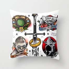 One Ring Tattoo Flash Sheet Throw Pillow