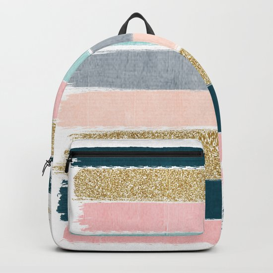 Zara - minimal gold navy pink pastel stripes painterly boho decor trendy gifts Backpack
