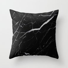 Black Marble Throw Pillow