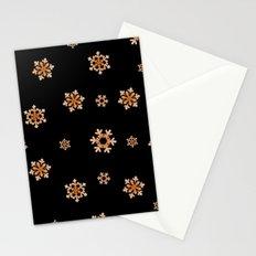 Snowflakes (Orange on Black) Stationery Cards