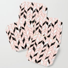 Rose gold glitter chevron herringbone black white marble pattern Coaster
