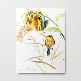 Yellow Bird and Sunflowers, Yellowhammer Metal Print