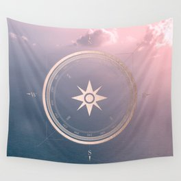 The Edge of Tomorrow - Rosegold Compass Wall Tapestry