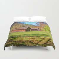 allyson johnson Duvet Covers featuring Johnson City Tennessee Cabins by Mary Timman
