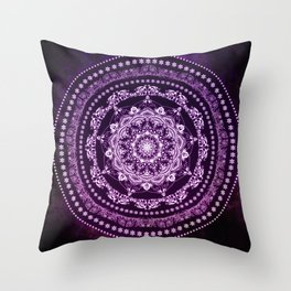 Purple Glowing Soul Mandala Throw Pillow