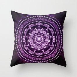 Purple Glowing Soul Mandala Throw Pillow
