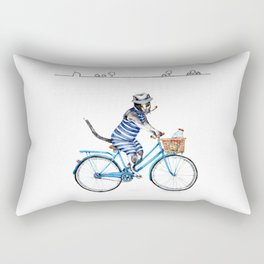 Cat on a Blue Bicycle Rectangular Pillow