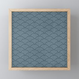 Blue Indigo Denim Waves Framed Mini Art Print