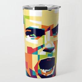 colorful illustration of ronaldo Travel Mug
