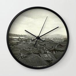 Village rooftops, Korea 1950s Wall Clock