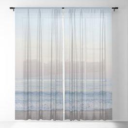 Pastel Sunrise Zuma Beach California Sheer Curtain