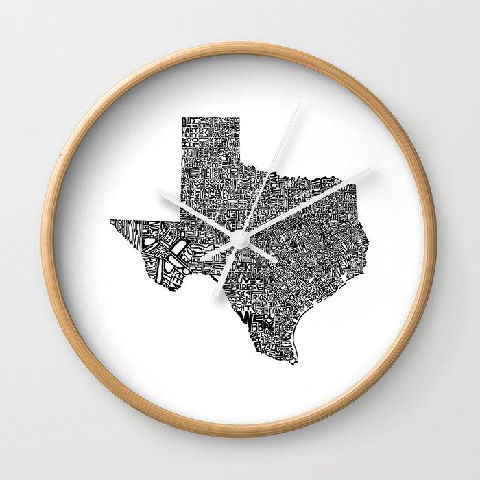 Typographic Texas Wall Clock