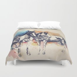 Two Horses (Standing) Duvet Cover