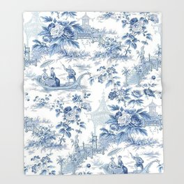 Powder Blue Chinoiserie Toile Throw Blanket
