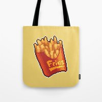 fries Tote Bags featuring Pixel Fries by TheSkywaker